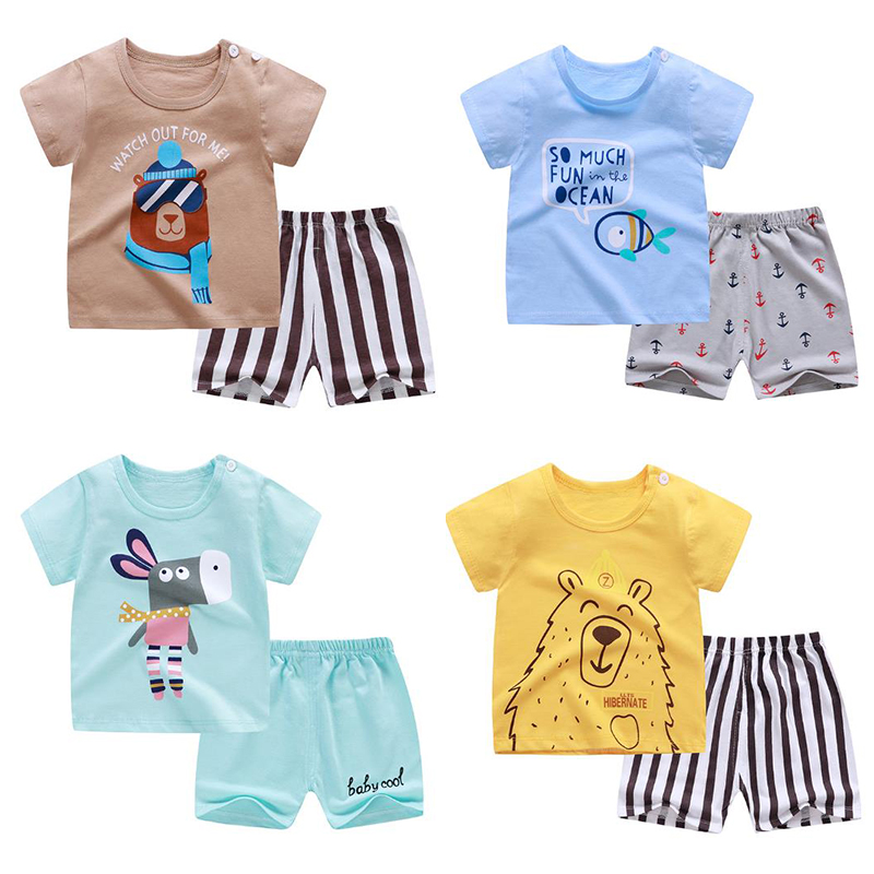 New Summer 2020 Baby  Short Sleeve Clothes For  Boys And Girls Children 2 Pcs Sets Home Clothing Cotton Baby Sets Leisure Infant