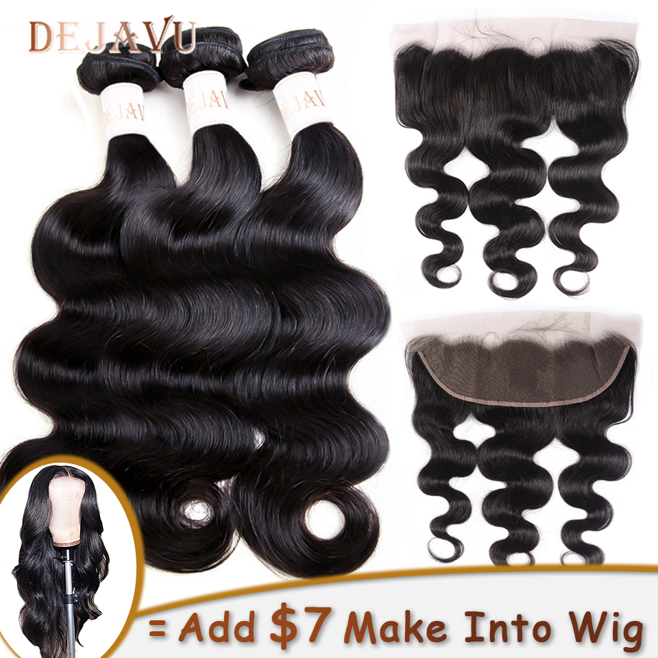 DEJAVU 3 Bundles With 13x4 Frontal Non-Remy Hair Bundles And Frontal Body Wave Human Hair Lace Fontal Wig DIY Lace Front Wig