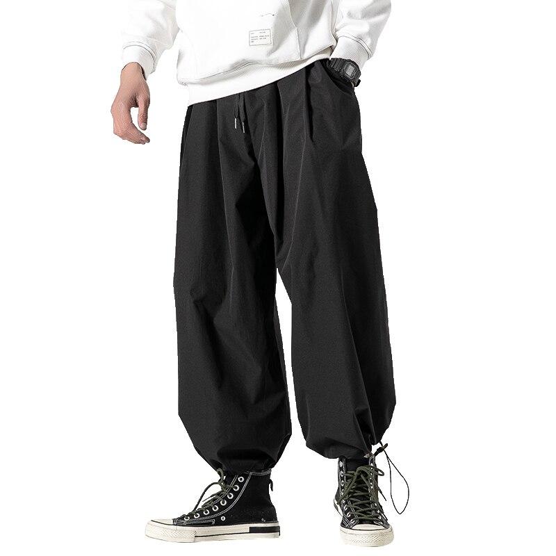 New Design Drawstring Harem Pants Men Baggy Jogging Pants Japanese Style Male Crotch Wide Leg Pants Casual Loose Trousers