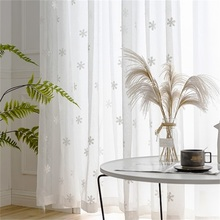 Whit Snowflake Embroidery Curtain White Tulle Curtains for Living Room Bedroom Balcony Kitchen Short Curtain Winter Drape  P1574