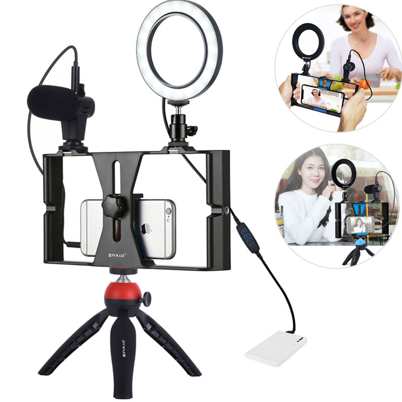 PULUZ Mobile Phone Stabilizer Holder Set With Mini Tripod Microphone Vlogging Rig Mount LED Ring Light Bracket Stand Accessories