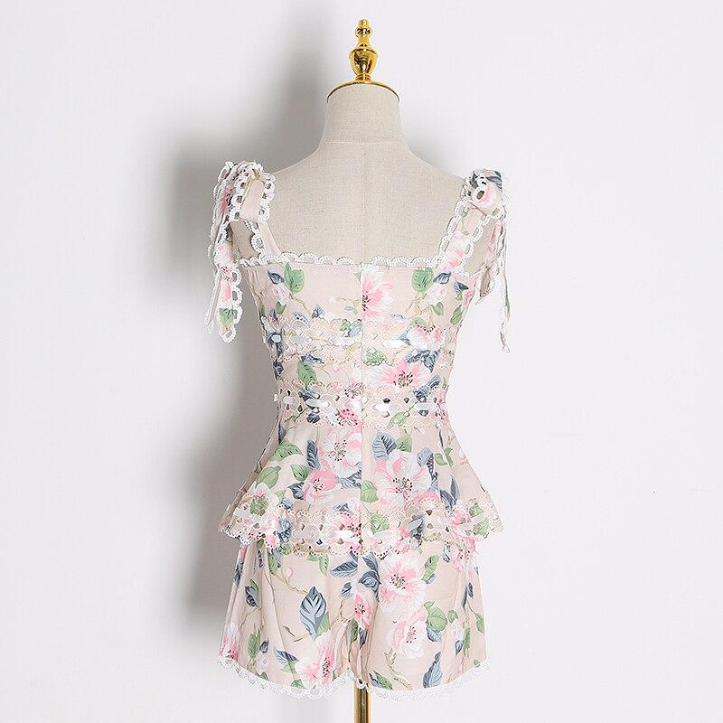 CHICEVER, conjunto de dos piezas de encaje hueco, chaleco sin mangas de cuello cuadrado para mujer, Chaleco corto de cintura alta, trajes de Moda de Primavera 2020 para mujer - 2