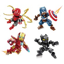 4Pcs Avengers 4 Heroes Mechanical Iron Man Spider Captain America Panther Set Building Blocks Bricks Boy Toys B758