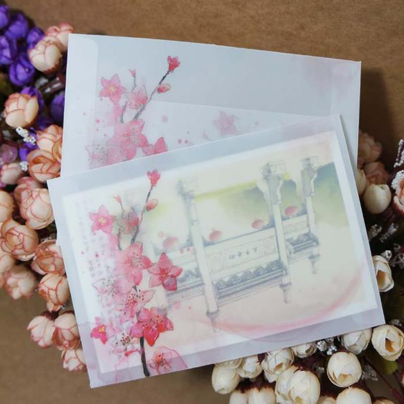 5 Pcs/set Beautiful Peach Blossoms Sulfuric Acid Paper Transparent Envelopes Postcards Greeting Card Cover Stationery Gifts