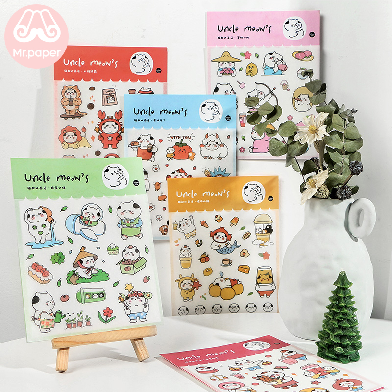 Mr.paper 1Pc/bag 6 Designs Tea Shop Cat Drink Aircraft Deco Diary Stickers Scrapbooking Planner Decorative Stationery Stickers