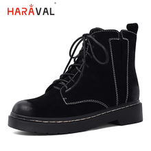 HARAVAL Fashion Basic Women Ankle Boot Luxury Round Toe Low Heel Shoes Lace-up Solid Casual Zipper Winter Soft Martin Boots B241