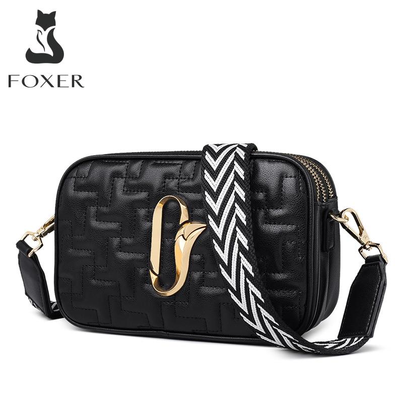 FOXER Female Square Crossbody Bag Three-tier Large Capacity Design Shoulder Bag Knitted Shoulder Straps Women Small Flap Bag