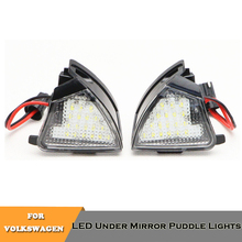2x 18SMD LED under rearview mirror puddle lights no error white for Volkswagen EOS Golf 5 GTI MKV R32 Jetta MK3 Passat CC Sharan