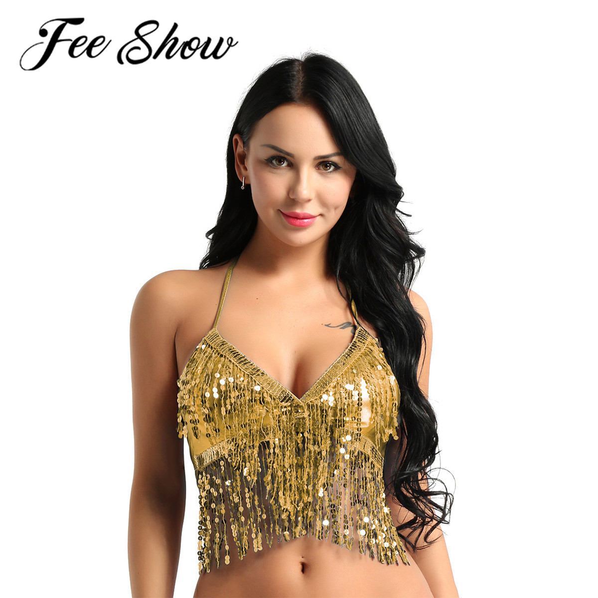 Sexy Women Shiny Belly Dance <font><b>Tops</b></font> Costume Female Ladies Halter Neck Sequins Tassel Beads Latin Bras <font><b>Top</b></font> <font><b>Bollywood</b></font> Dance Clothes image