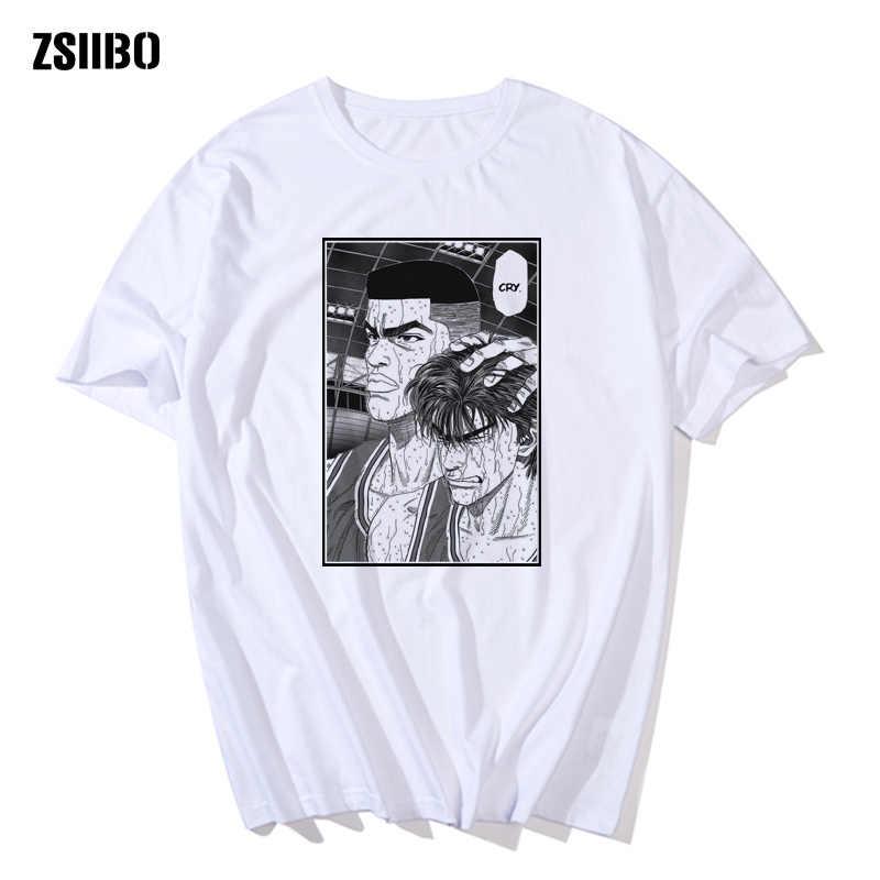 하라주쿠 반팔 남성 그물 레드 슬램 덩크 마스터 t 셔츠 반팔 사쿠라기 꽃 농구 의류 커플 Streetwear