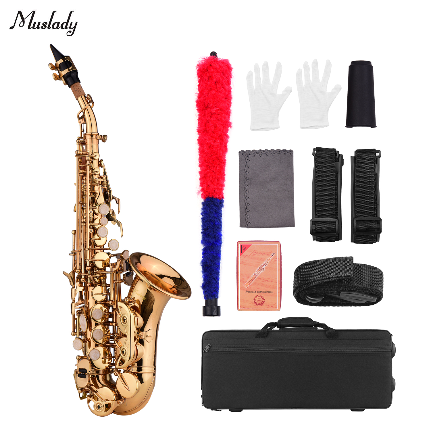 Muslady Mini Bb Soprano Saxophone Sax Brass Material Woodwind Instrument with Case Gloves Cleaning Cloth Brush Reeds Sax Strap