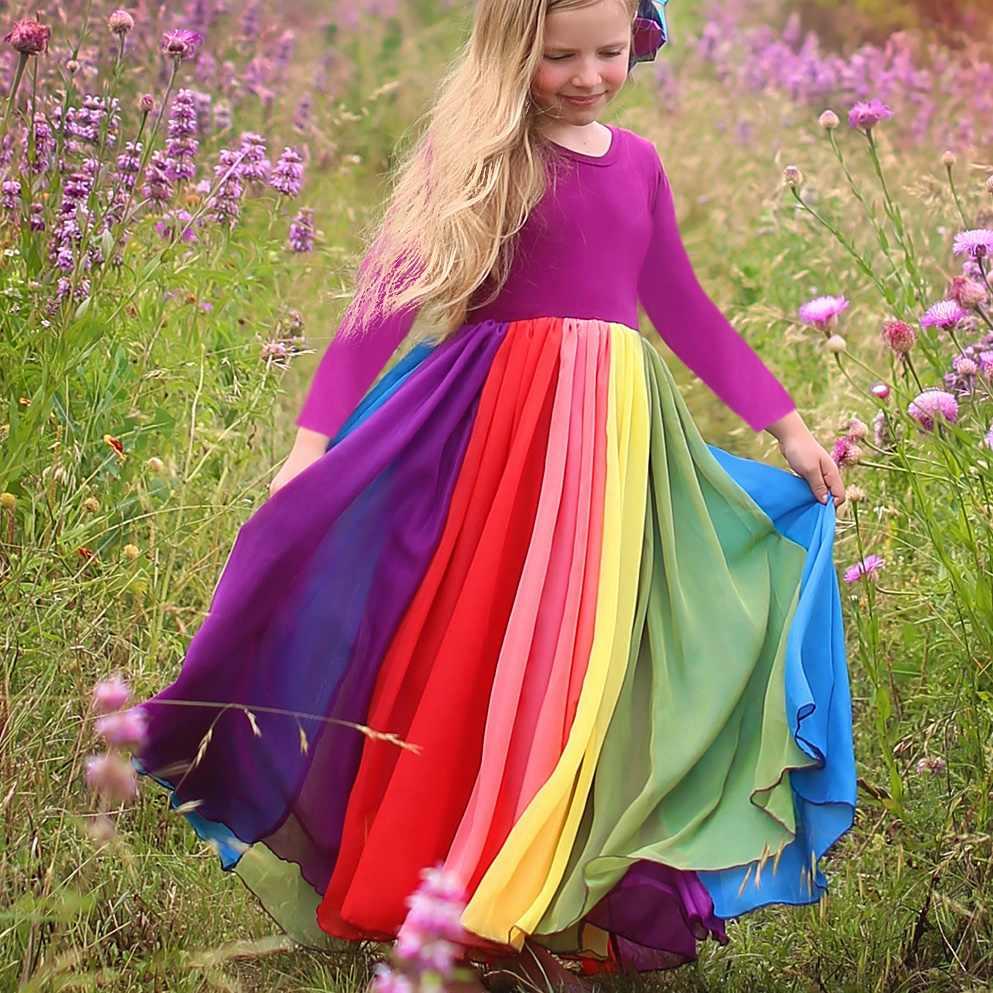 Girls Dress Autumn Winter Long Sleeve Rainbow Dresses Party Princess Dress New