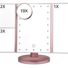 Розовое золото светодиодный макияж зеркало косметическое зеркало настольное туалетное зеркало USB три сложения зеркало для макияжа Smart Touch парикмахерское Mirro