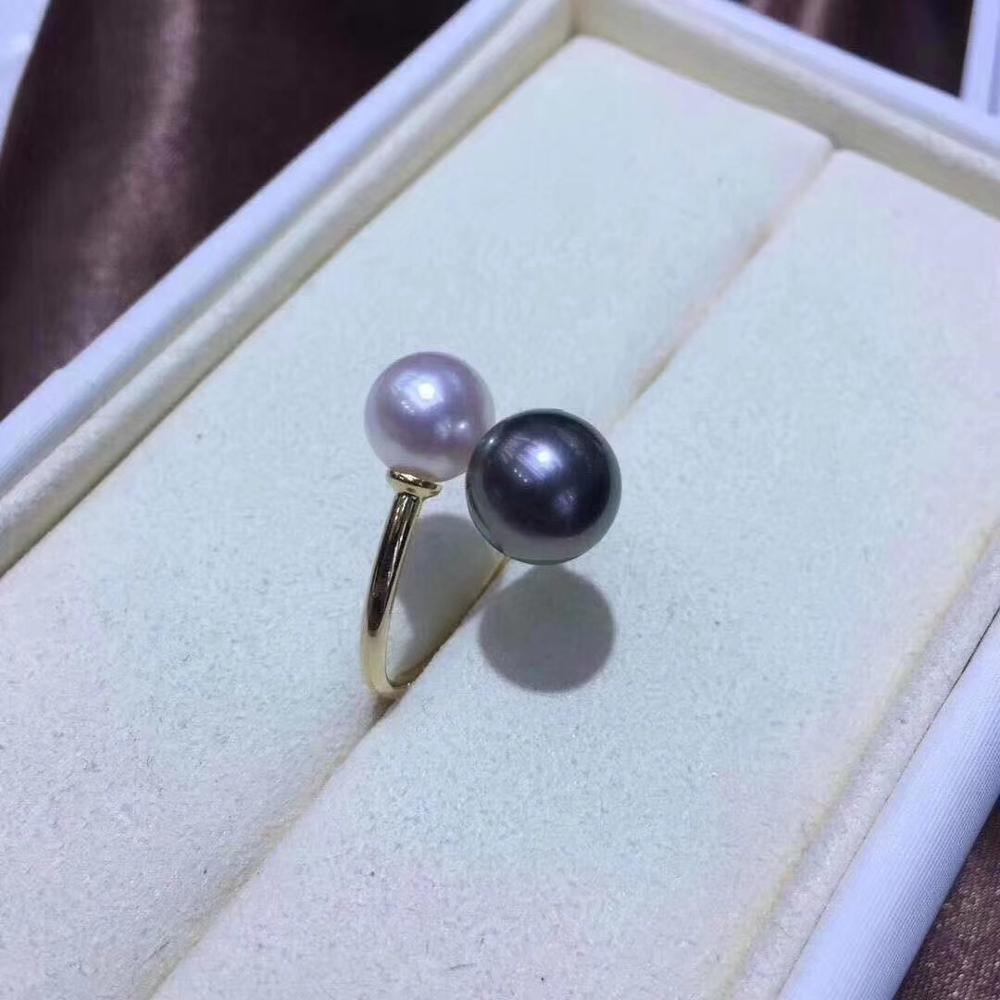 Deux perles réglables en or 18K véritable bagues de montage paramètres AU750 résultats de bijoux pour perles Agate de corail perles de cristal pierres