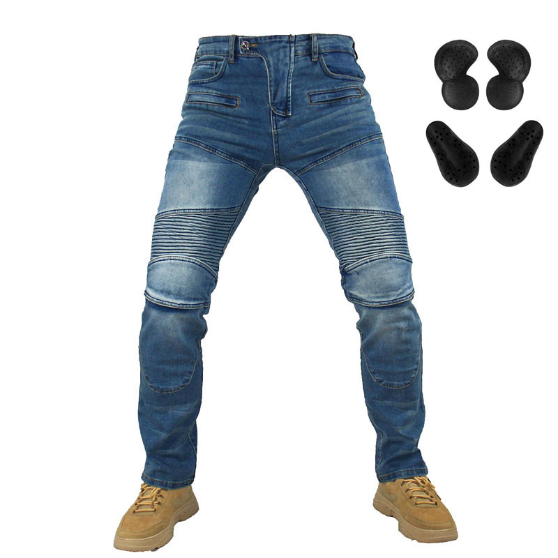 Komine 718 Motorcycle Riding Pants Pantalon Moto Jeans for Men Women Motocross Racing Trousers with 4 Knee Hip Protective Pads