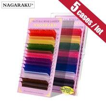 طقم 5 حالات من NAGARAKU مكون من 16 صف/علبة عالية الجودة لتطويل رموش العين لون معكرون رموش ملونة بألوان قوس قزح لون أزرق وأحمر