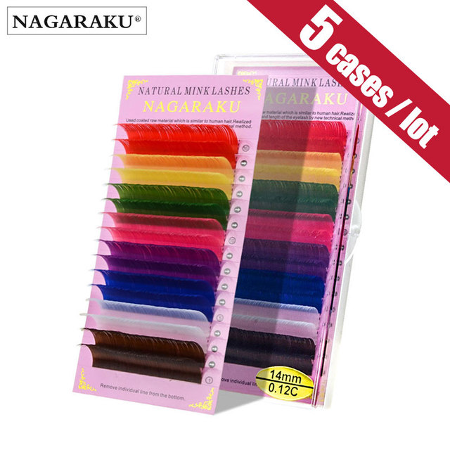 NAGARAKU 5 cases set 16rows/case  high quality  eyelash extension macaron colour lashes colorful lashes rainbow color  blue  red