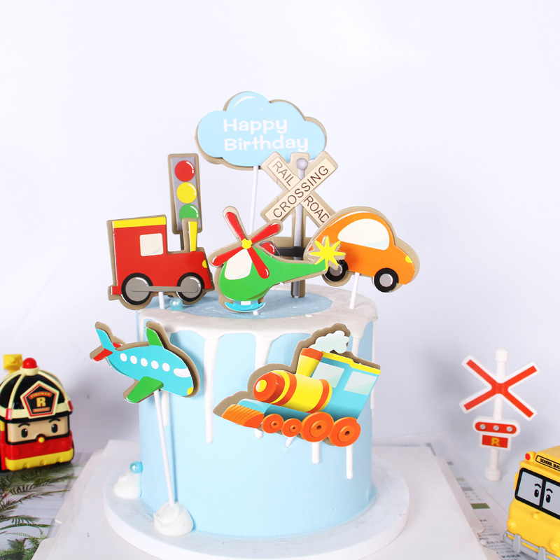 Vintage Child Airplane Train Car Cake Toppers Decoration Boys Space Dream Party Cake Top Flag Decor Baby Shower Supplies Gift image