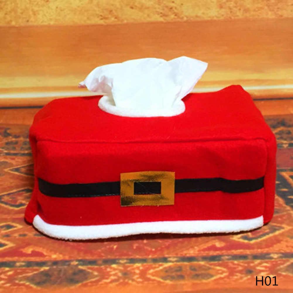 1 pc! Cinto de Papai Noel do natal Sentiu Caso Caixa De Tecido de Decoração Para Casa Criativa Do Vintage Guardanapo Suportes Para Toalhas De Papel