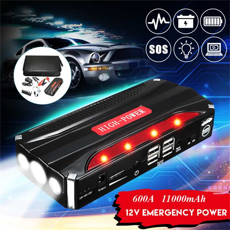11000mAh Car Jump Starter Power Bank 12V 600A Battery Booster Starting Device Emergency Charger Multifunction Battery Booster image