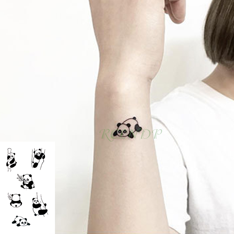 Waterproof Temporary Tattoo Sticker Lovely Bamboo Panda Animals Tatto Flash Tatoo Fake Tattoos For Kids Men Women