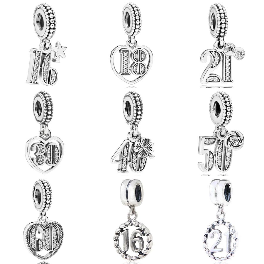Alphabet & Numbers 16 18 21 30 40 50 60 Years Of Love Pendant Charm Fit Pandora Bracelet 925 Sterling Silver Beads DIY Jewelry image