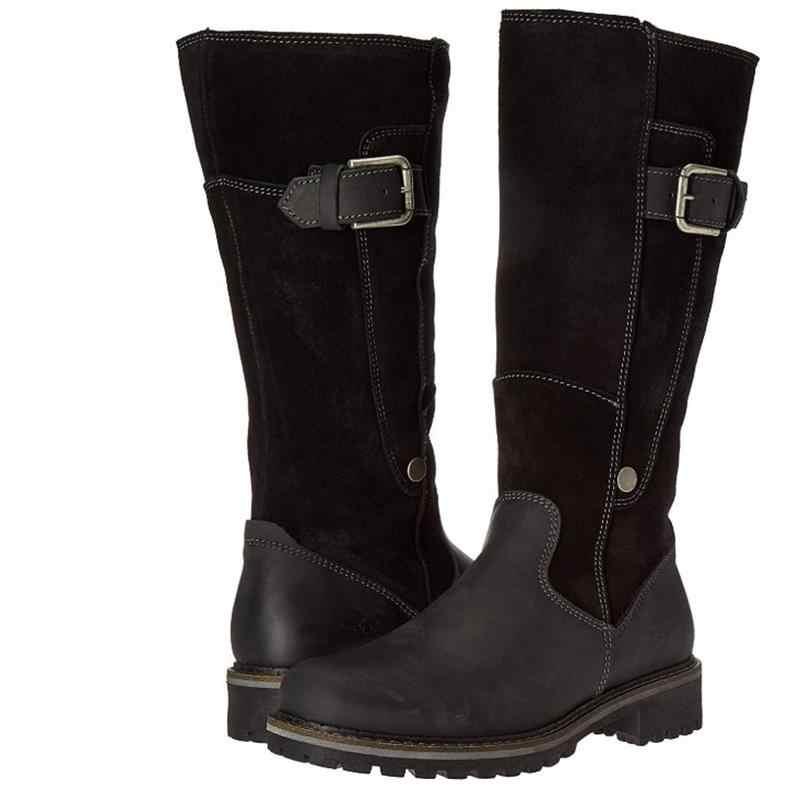 2019 kadın moda botları kış kadın ayakkabı peluş sıcak diz yüksek çizmeler lüks Patchwork düz ayakkabı rahat kadın kar botları
