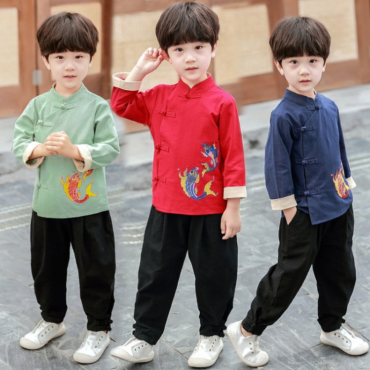 BORUMEX 2019 new boy Tang suit long-sleeved Han Dynasty clothing baby Chinese style costume children spring and autumn
