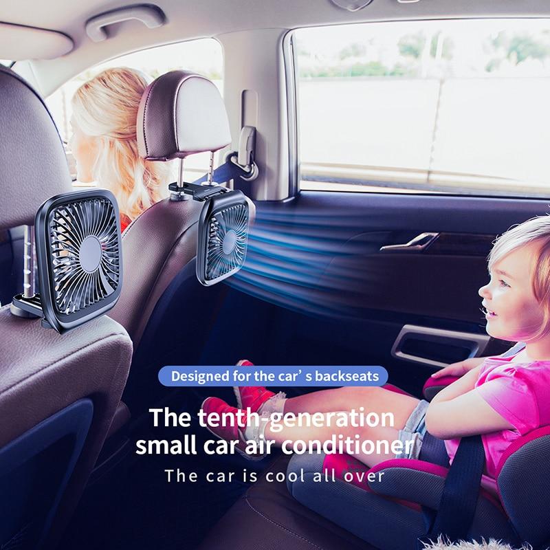 Baseus Car Fan Cooler Foldable Silent Fan For Car Backseat Air Condition 3 Speed Adjustable Mini USB Fan Desk Fan Auto Cooling 1
