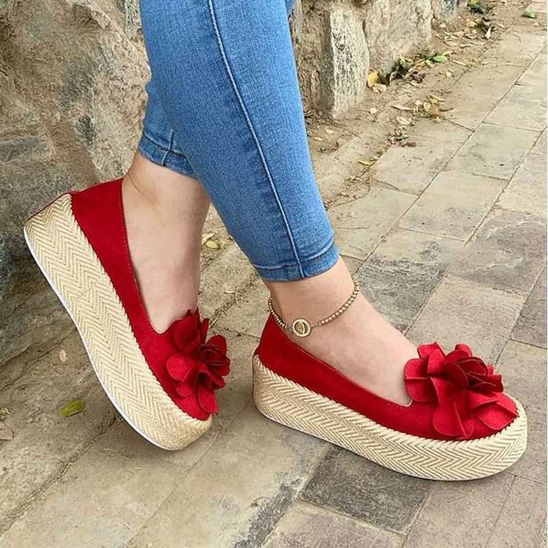 HEFLASHOR Women Shoes Sneakers Platform Floral Flats Ladies Loafers Slip-On Suede Casual title=