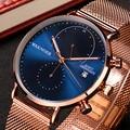 Бренд WAKNOER, роскошные часы, мужские наручные часы, сетчатый ремешок, мужские часы, отображение даты, кварцевые часы, мужские Модные повседнев...