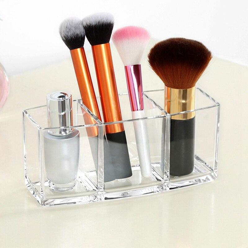 Акриловая коробка органайзер для косметики для нанесения макияжа для макияжа, кисти для глаз, органайзер для хранения, экономия места, для д...