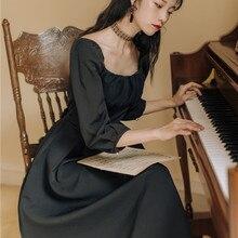 2020 nuevo Vestido de manga larga de cuello cuadrado de estilo clásico de cintura alta de primavera Vintage vestido elegante negro Ultra largo de media pantorrilla para las mujeres