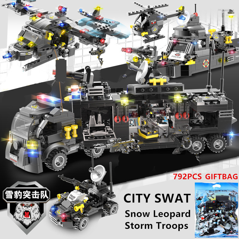 792Pcs SELOS Da Marinha Militar Helicóptero navio de Guerra SWAT Da Polícia Blocos de Construção Sets Técnica LegoINGLs Tijolos DIY Brinquedos Para Crianças