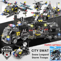 792Pcs Navy SEALS Military Helicopter Warship Police SWAT Building Blocks Sets Technic Bricks DIY LegoINGLs Toys For Children