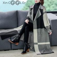 Women's Coat Windbreaker Office X-Long Plaid Autumn New-Style Lady Open-Stitch Aged Middle