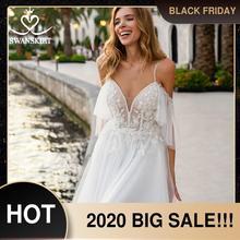 חוף אפליקציות אונליין חתונת שמלה מתוקה 2 ב 1 אשליה ללא משענת Vestido דה novia נסיכת Swanskirt D132 כלה שמלה