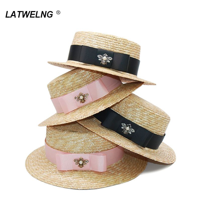 Parent-child Sun Hat Fashion Bee Women Summer Straw Visor Hats Cute Girls Beach Hats Holiday Gift Wholesale S482