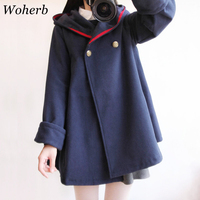 Woherb cappotto invernale giapponese Harajuku donna mantello con cappuccio sciolto spesso 2021 capispalla cappotti di lana signore Cape Femme 20408