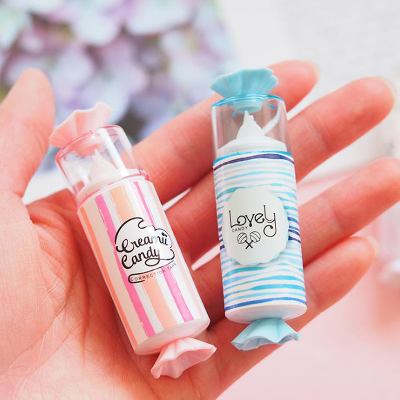 1 Pcs Sweet Candy Shape White Out Correction Tapes School Supplies Korean Stationery Corrector Tools Students Prizes