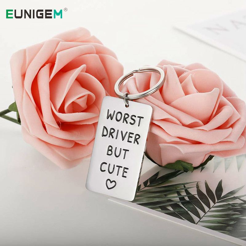 Worst Driver But Cute Keychain For Boyfriend Girlfriend Funny New Drive Gifts Car Keys Keychain For Husband Men Women