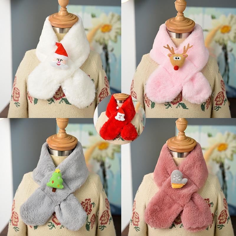 Children Cross Scarf Christmas Imitation Rabbit Fur Autumn And Winter Korean-style BOY'S Girls Warm Plush Faux Rabbit Fur Scarf