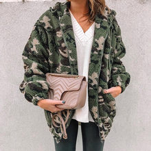 Winter Militaire Camouflage Teddy Jas Vrouwen Hooded Zipper Pocket Pluche Fleece Jas Plus Size Warm Casual Army Green Uitloper(China)