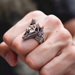 Majestic Stargate Egyptian Deity Anubis Ankh Cross Talisman Gold and Silver Biker Ring Vintage Jewelry Rings for Men(China)