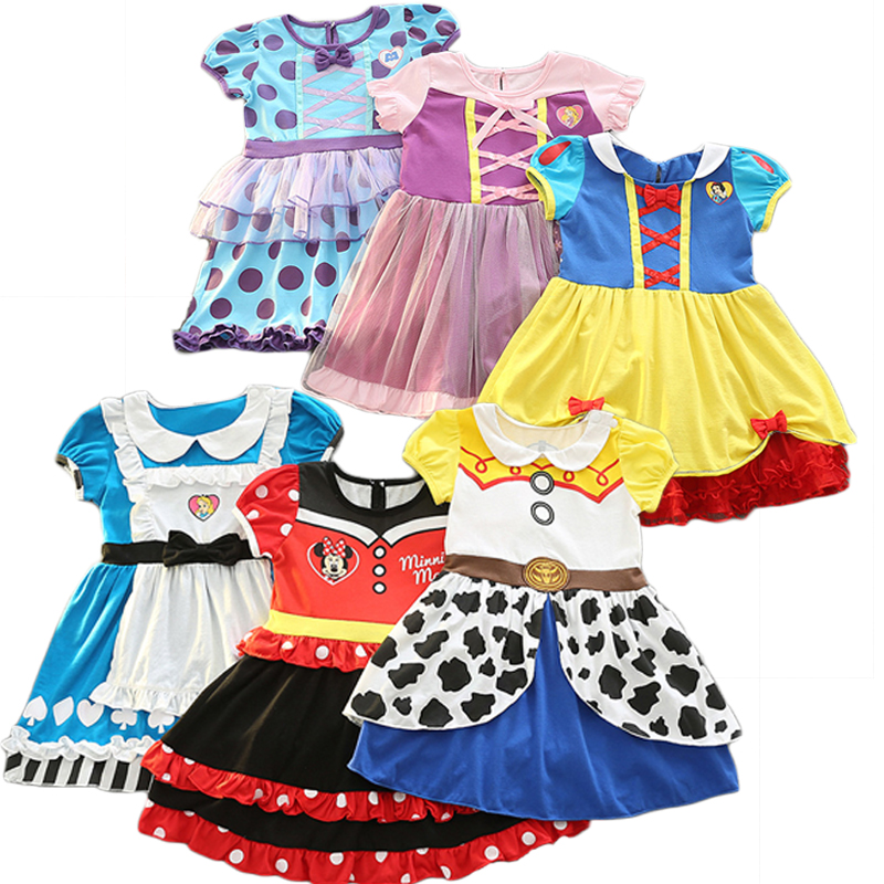 Elsa Anna Dresses Girl Party Dress Minnie Snow White Princess Sofia Ariel Aurora Halloween Costume Carnival Costume for Girl