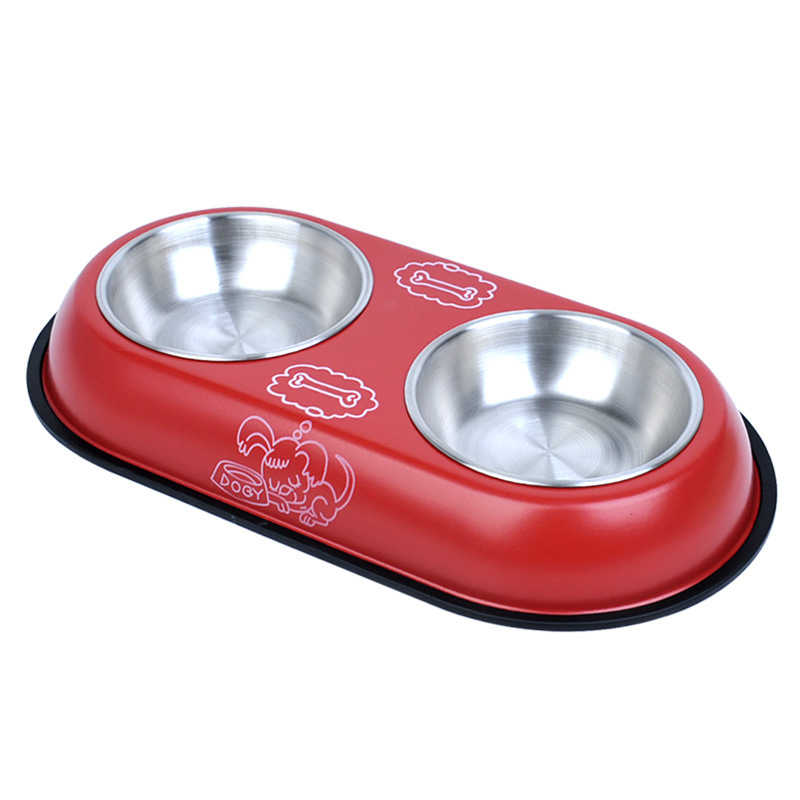 1pc 2 Tamanho Verniz de Cozimento de Aço Inoxidável Dos Desenhos Animados Filhote de Cachorro Do Cão de Estimação Gato Alimentação Tigela Prato Comida Bebida de Água Dupla comer Alimentador