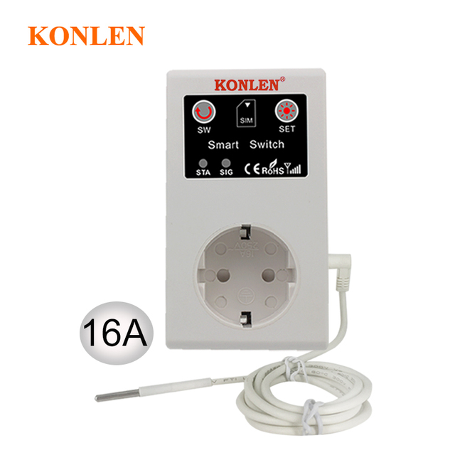 16A GSM Presa di Controllo Remoto Interruttore di Alimentazione del Sensore di Temperatura Smart Home, Casa Intelligente Relè di Controllo SMS App Porta Del Garage Apri del Cancello