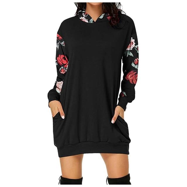 2021 Fashion Women Dresses Autumn Winter Elegant Floral Printed Jurk Hooded Pockets Short Female Sweatshirt Dress Femme #t2g 1