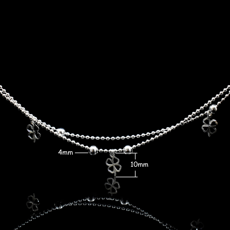 Newest Fashion 925 Sterling Silver Double Layer Small Ball Chain Anklet Lucky Clover Pendant Anklets Bracelet For Women Jewelry 2