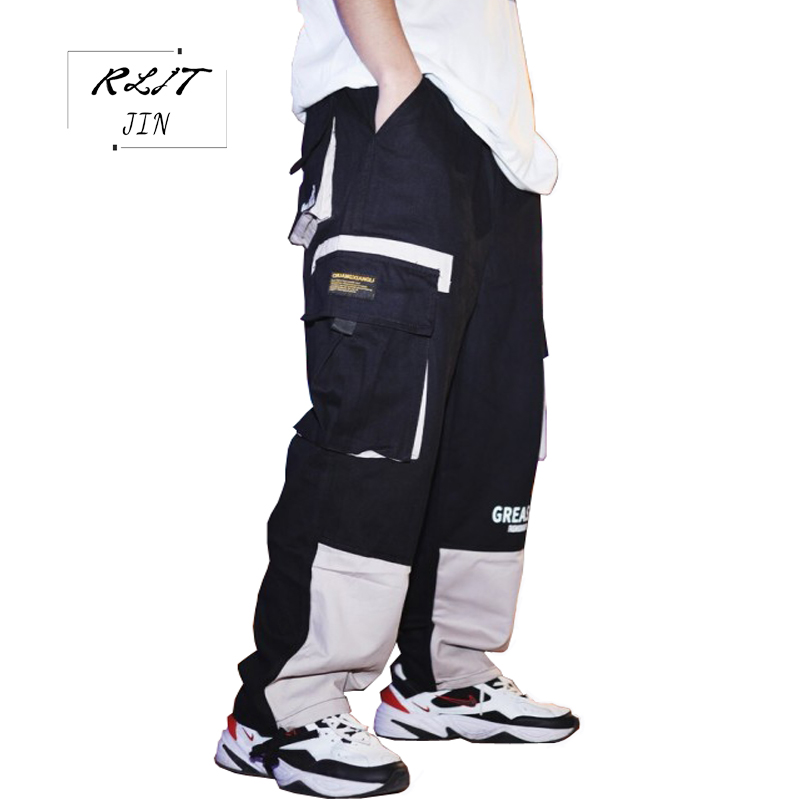 RLJT.JIN 2019 High quality casual casual jogger pants men Comfortable cotton patchwork casual pants mens popular with teenagers